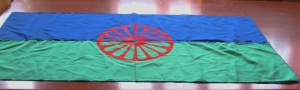 The Roma flag: a cartwheel against grass and sky.