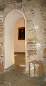 A doorway between rooms in the Čifte Amam National Art Gallery. Note the art!