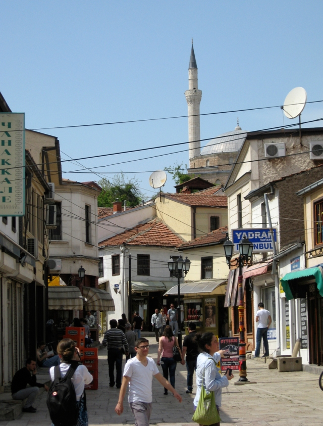 A typical street in the Old City section of Skopje.
