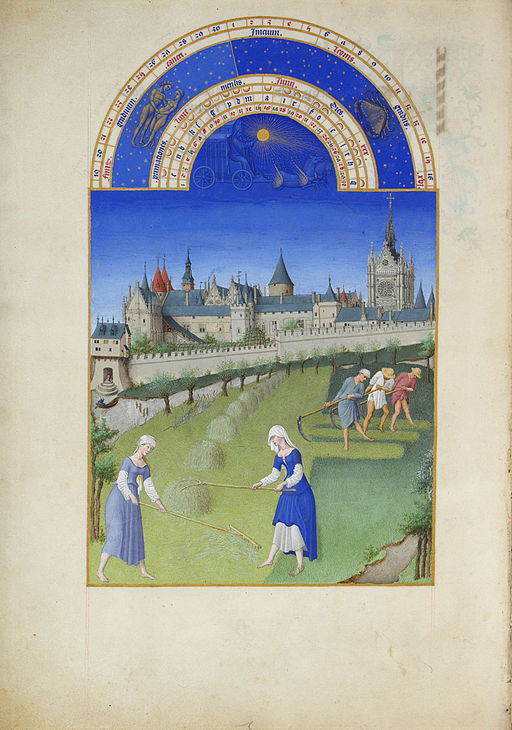 From the Berry Hours: making hay in the early fifteenth century. Nothing changed much until the Industrial Revolution and the mowing machine. (Limbourg brothers [Public domain], via Wikimedia Commons)