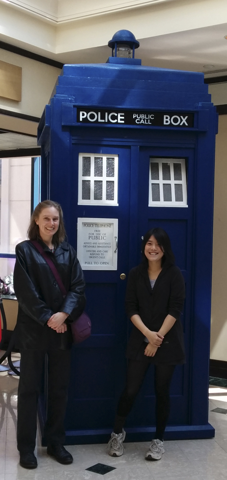 Connie and I and a replica TARDIS. We think it was a replica. We couldn't check, because the door was locked.