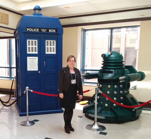 My friend and expedition photographer MC looking ready to be whisked away for adventure. That Dalek is huge and scary. I don't trust those museum exhibit velvet ropes to hold it back.