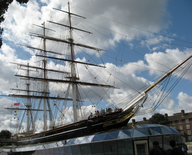The Cutty Sark in her glass case. How would she have fared in a race against the Marco Polo?
