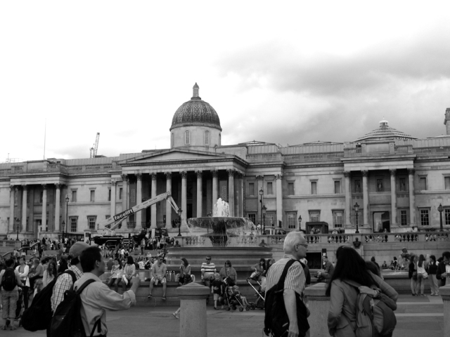 The National Gallery overlooking Trafalgar Square. A busy place, that. Thought about Blackout and All Clear.