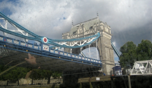 Passing under Tower Bridge on a Thames Clipper river bus.