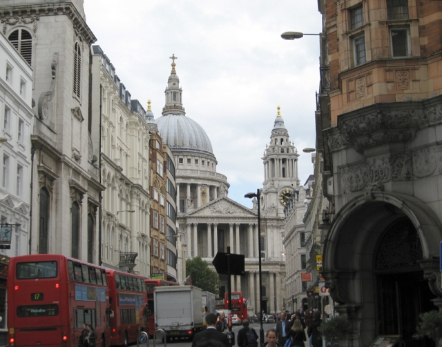 St. Paul's Cathedral, peering down the Strand.