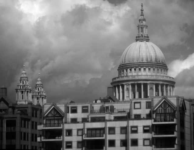 A view of the famous dome of St. Paul's Cathedral from the Thames.