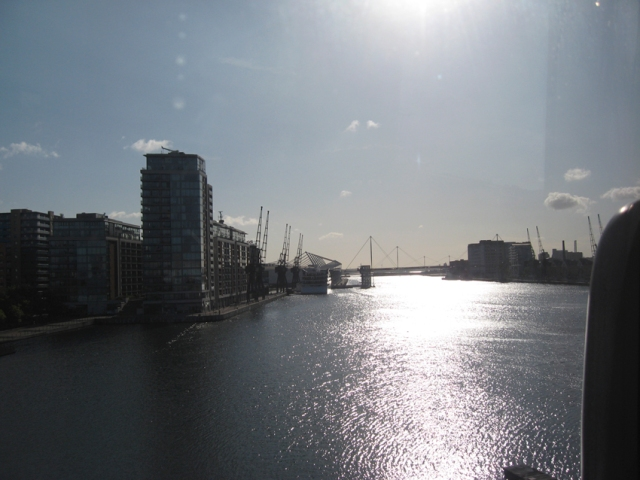 Crossing the Thames in a cablecar.