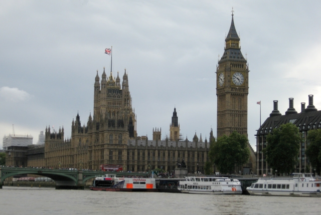 Westminster and the Elizabeth Tower from the Thames.