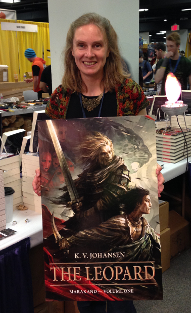 Me and the big poster for The Leopard. That Swanland cover looks gorgeous blown up to this size. Wish I could have smuggled this away for my wall at home.
