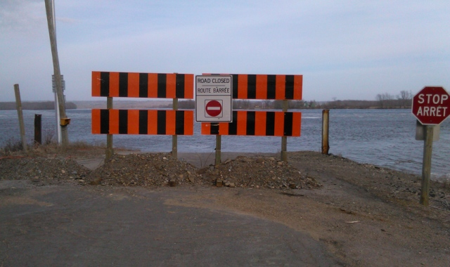 barrier blocking access to ferry landing